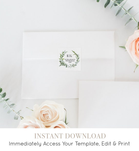 Wedding Address Label Template, Favor Tag, Return Address Sticker, INSTANT DOWNLOAD, Editable, Printable, Greenery Wreath, Boho #016-102AL
