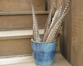 Blue Ceramic Basket Pot with Striped Texture Home Decor Storage Pot, Handmade Artisan Pottery by Licia Lucas Pfadt