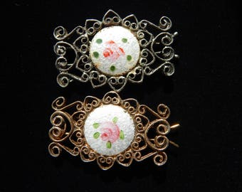Vintage Hair Barrette Silver Tone Gold Tone Guilloche White and Pink Rose Barrette Set of 2