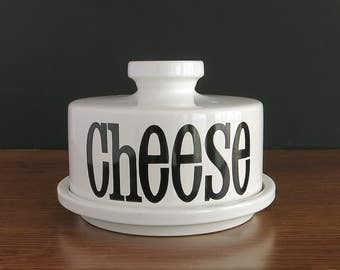 Vintage TG Green Spectrum Cheese Bell - TG Green Church Gresley Cheese Dish - TG Green Covered Cheese Dome Ceramic Typography Cheese Keeper