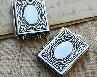 Book Locket Pendants /Charms Antique Silver- LKBK-104 - 4pcs