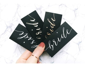Black name cards, wedding stationery, place cards, table decor