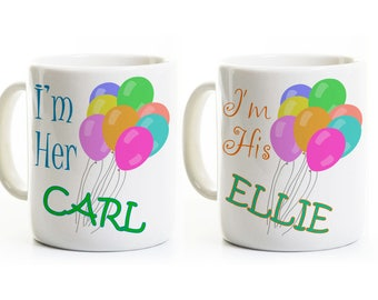 Carl and Ellie Coffee Mugs - Inspired Gift for Couples -His and Her Anniversary Wedding Gift -Engagement Gift -Coffee Mugs
