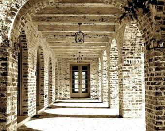 "Architectural Photo, Entryway Wall Art, Portico Walkway Passageway, Spanish Architecture Print, Historic Brick Home, Beige Print- ""Portico"""