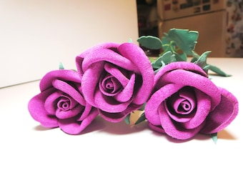 3rd anniversary gift -Pink rose -Long Stem pink Rose,  Leather rose -Valentines Gift - sexy rose