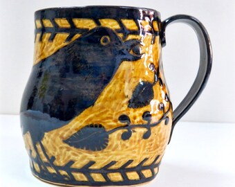 Art Pottery RAVEN MUG SGRAFFITO Crow Bird - Coffee Tea Cup Mug - Detailed Borders Handle Vines - Customize Colors - Ceramic