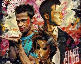 Project Mayhem Fight Club canvas or matte paper prints...  Marla Singer, Edward Norton,  Tyler Durden, Brad Pitt, Cult Classic Movie, soap