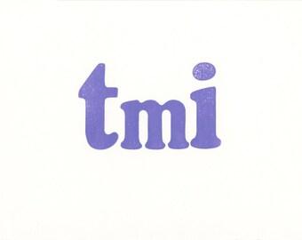 Note card. tmi