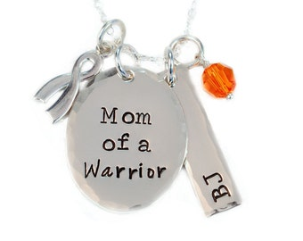 Mom of a Warrior Personalized Necklace - Cancer Awareness - Childhood Cancer - Cancer Jewelry - Sterling Silver