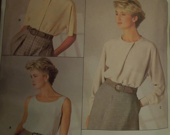 Vogue 1860, size 12, UNCUT sewing pattern, craft supplies, misses, womens, top, blouse