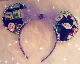 Wine Inspired Disney Ears Minnie Vacation Land World Headband Handmade