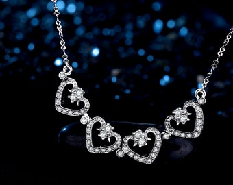Silver Plated Swarovski Element Crystal Vintage Style Convertible Necklace for Women