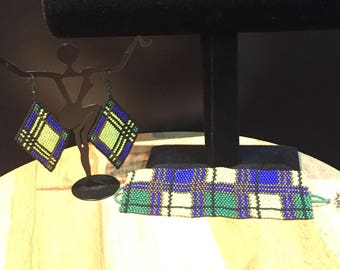 Lime green, blue, and green plaid print bracelet and earrings set