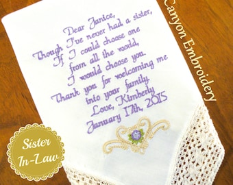 Sister, Sister In-Law Wedding Gift Embroidered Wedding Handkerchief, Wedding Gift for your Sister, Sister InLaw Gifts by Canyon Embroidery