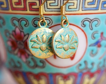 Tiny Gold and Patina Lotus Earrings