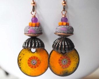 Orange Enamel Earrings, Boho Earrings, Pink Polymer Clay Earrings, Bright Colorful Earrings, Boho Chic Earrings, Artisan Enamel Earrings