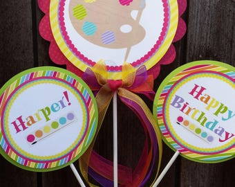 Personalized 3 Piece Centerpiece -Art Party -Birthday -Baby Shower -Table Decoration -Candy Dessert Table -Painting Party-Colorful