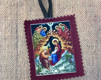 Soft cloth nativity icon Christmas ornament