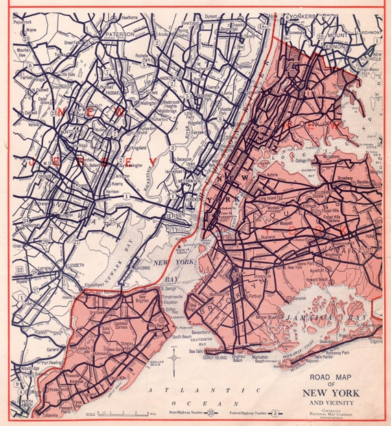 NEW YORK ROAD Map Vintage 1932 Collectible Map Perfect Gift
