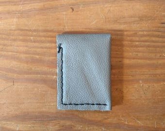 Minimal Leather Wallet, Handmade in Texas with Recycled Leather, Light Gray