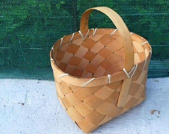 Antique Primitive Splint Bent Wood Basket