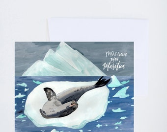 Cooler Than Antarctica - Painted - Friendship - Greeting Card - A-2 Single Card