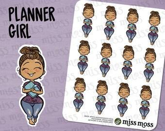 Planner Girl Stickers, Tan Latina Skin, Plus Size, Curvy, Mexican Boricua - Erin Condren, Happy Planner, Filofax, Decorative