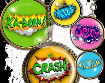 80% Off Spring Sale Retro Comic Expressions 1 Inch Digital Collage Sheet Images for Bottlecaps Bottle Cap Jewelry Making Round Circles for P