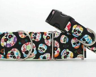 Day of the Dead (Día de los Muertos) Dog Collar (Martingale, Buckle, or Tag)