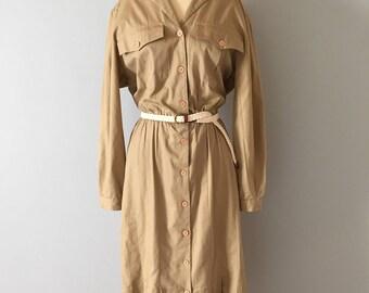ecru cotton work dress || 1980s utility dress | pocket dress