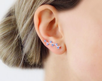 925 Sterling Silver Ear Crawlers Blue Cristals Milky Way Ear Pin Ear Climbers