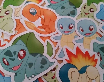 Pokemon Stickers / Squirtle / Bulbasaur / Charmander / Chikorita / Cyndaquil / Totodile / Geek / Video Game / Laptop / Custom / Planner