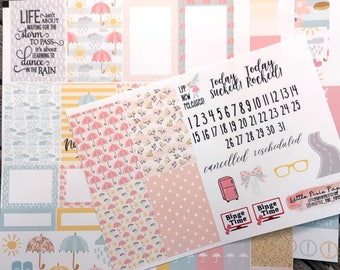 Pastel Spring Showers Weekly Planner Sticker Kit - Umbrella Rain Boots Spring - for use with Erin Condren - Happy Planner - Pink Mint Pastel