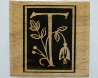 Letter T Rubber Stamp - Wood Mounted Rubber Stamp - Alphabet Letter T Stamp