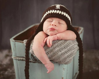 Baby Boy Football Hat, Ready to Ship, Crochet Football Hat, Newborn Football Hat, Football Ear Flap Hat, Baby Boy Hat, Crochet Baby Hat
