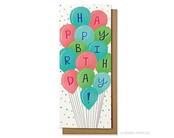 Birthday Card - Birthday Balloons Money Card - Happy Birthday Card - Hennel Paper Co. - BD44