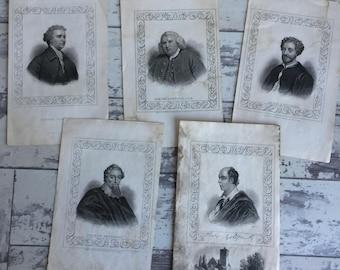 Antique Engravings Samuel Johnson, Edmund Burke, Francis Beaumont, John Fletcher, Oliver Goldsmith from Townsend Alphabetic Chronology -