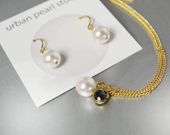 Single Pearl Pendant on Gold Chain Bridesmaids Gift Sets Montana Blue Drop Necklace Earrings Swarovski Pearls