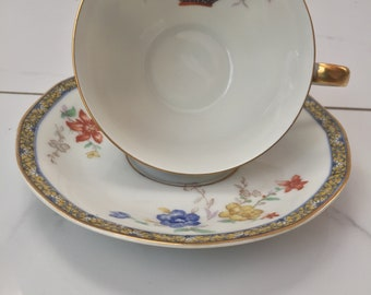 Theodore Haviland Limoges France GANGA Tea Cup and Saucer Set. Wright Tyndale & Van Roden. RARE