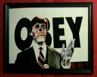 They Live Obey Alien Photo Framed Glass Art Print Retro Vintage Style Horror Sci Fi Science Fiction Memorabilia Aliens Gift Present