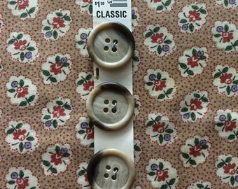 """Vintage 3 New Variegated Brown Round Buttons 1"""" Plastic on Card by Lansing"""