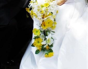 Bridal Bouquet, Silk Wedding Bouquet, Waterfall Bouquet, Lily Bouquet, White Orchid Bouquet, Yellow Bouquet, Cascading Bouquet