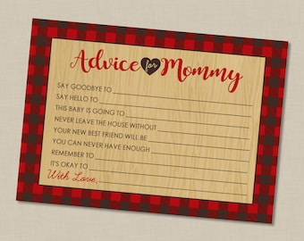 Plaid Mama Bear Baby Shower Advice For Mommy Printable Cards - INSTANT DOWNLOAD - Mom Flannel Woodsy Northwoods Lumberjack Inspired
