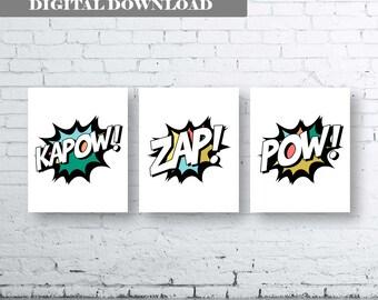 Superhero Quote Art. Set of Three (3)-Instant Download. Kapow Zap Pow. Superhero Bedroom Art. Superhero action words. Colourful Superhero