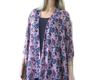 Wild flowers chiffon kimono cardigan with floral print-Ruana style with wild spring flowers-Lagenlook style--Chiffon summer collection