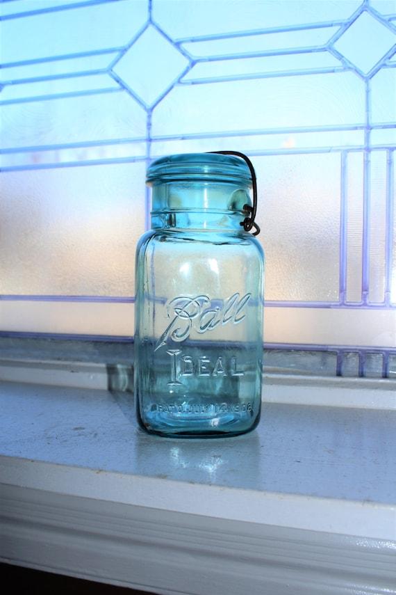 Square Blue Ball Jar Quart Blue Ball Ideal Mason Jar Vintage 1923 to 1933 Glass Lid Wire Closure