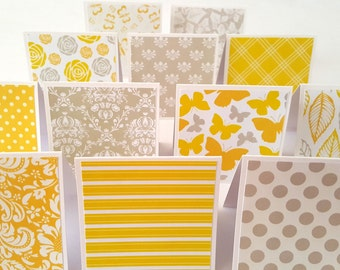 Yellow Notecards / Yellow cards / Yellow small cards / yellow / grey / yellow and grey / yellow card set of 12