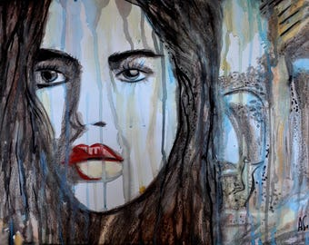 Watercolor painting, Face painting, Fashion model portrait, Ink painting, Ruins, Portugal, ORIGINAL contemporary art, wall art, Alex Solodov