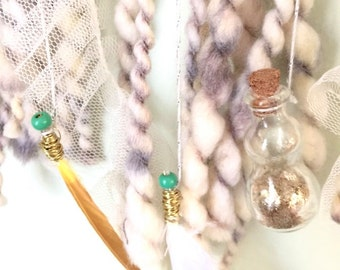 Dreamcatcher, Wall Hanging, Nursery Decor, Bedroom Decor, Bohemian, Hippie, Feathers, Beads, Cream, Teal, Gold, Yellow, Large