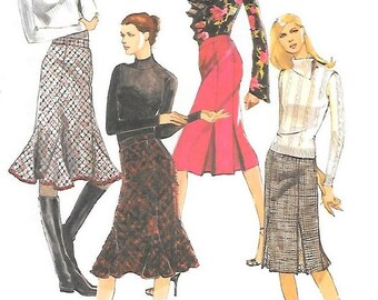 Womens Trumpet Skirt Pattern w/ Pleat Underlay or Godet Variations, Above Mid Knee, 2005 McCalls M4924 Sewing Pattern Sizes 8-10-12-14 UNCUT
